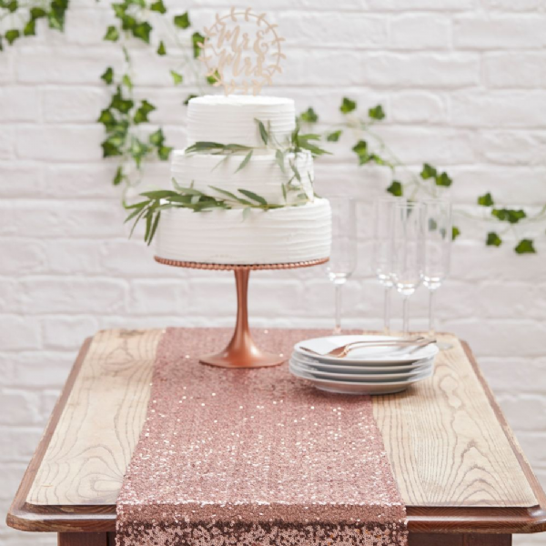 Table Runner with Sequins Rose Gold